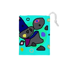 Blue comic abstract Drawstring Pouches (Small)