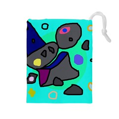Blue comic abstract Drawstring Pouches (Large)