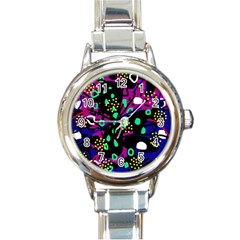 Abstract colorful chaos Round Italian Charm Watch