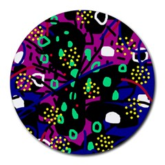 Abstract colorful chaos Round Mousepads