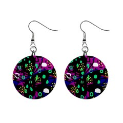 Abstract colorful chaos Mini Button Earrings