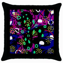 Abstract colorful chaos Throw Pillow Case (Black)