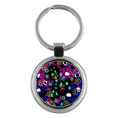 Abstract colorful chaos Key Chains (Round)