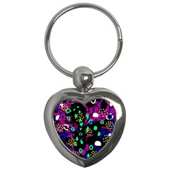 Abstract colorful chaos Key Chains (Heart)