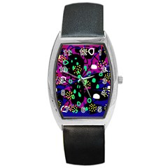 Abstract colorful chaos Barrel Style Metal Watch