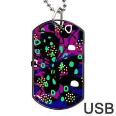 Abstract colorful chaos Dog Tag USB Flash (Two Sides)