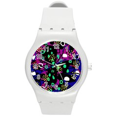 Abstract colorful chaos Round Plastic Sport Watch (M)