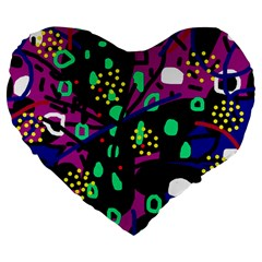 Abstract colorful chaos Large 19  Premium Heart Shape Cushions
