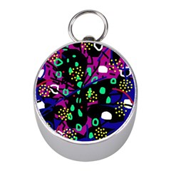 Abstract colorful chaos Mini Silver Compasses