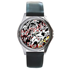 Colorful chaos by Moma Round Metal Watch