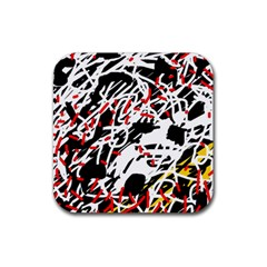 Colorful chaos by Moma Rubber Square Coaster (4 pack)