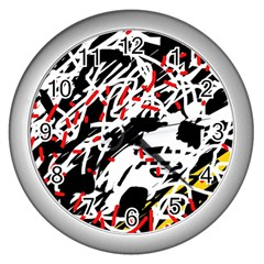 Colorful chaos by Moma Wall Clocks (Silver)