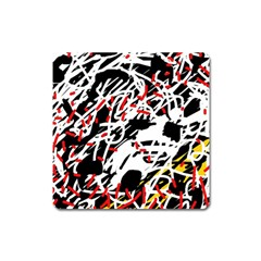 Colorful chaos by Moma Square Magnet
