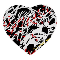 Colorful chaos by Moma Heart Ornament (2 Sides)