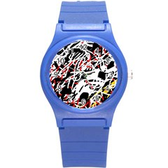Colorful chaos by Moma Round Plastic Sport Watch (S)