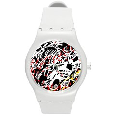 Colorful chaos by Moma Round Plastic Sport Watch (M)