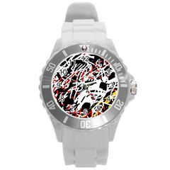 Colorful chaos by Moma Round Plastic Sport Watch (L)