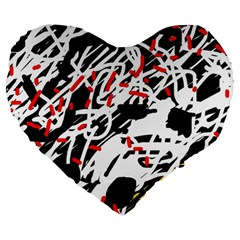 Colorful chaos by Moma Large 19  Premium Heart Shape Cushions