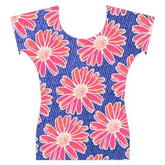 Pink Daisy Pattern Women s Cap Sleeve Top