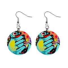 Abstract animal Mini Button Earrings