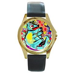 Abstract animal Round Gold Metal Watch