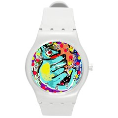 Abstract animal Round Plastic Sport Watch (M)