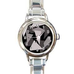 Simple gray abstraction Round Italian Charm Watch