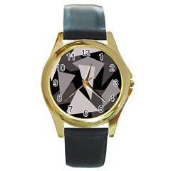 Simple gray abstraction Round Gold Metal Watch