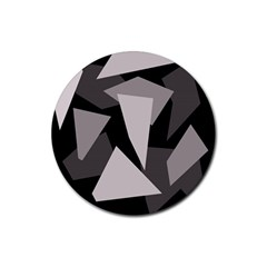 Simple gray abstraction Rubber Coaster (Round)