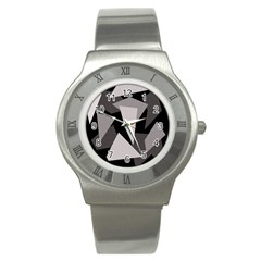Simple gray abstraction Stainless Steel Watch