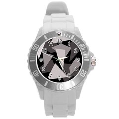 Simple gray abstraction Round Plastic Sport Watch (L)