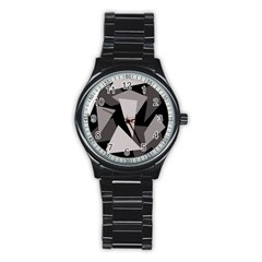 Simple gray abstraction Stainless Steel Round Watch