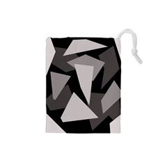 Simple gray abstraction Drawstring Pouches (Small)
