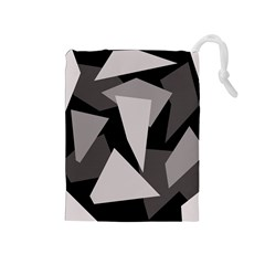 Simple gray abstraction Drawstring Pouches (Medium)