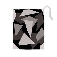 Simple gray abstraction Drawstring Pouches (Large)