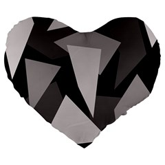 Simple gray abstraction Large 19  Premium Flano Heart Shape Cushions