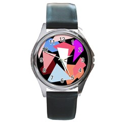 Colorful geometrical design Round Metal Watch