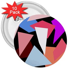 Colorful geometrical design 3  Buttons (10 pack)