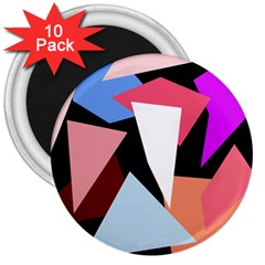 Colorful geometrical design 3  Magnets (10 pack)