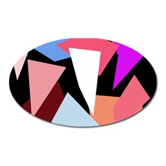 Colorful geometrical design Oval Magnet