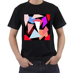 Colorful geometrical design Men s T-Shirt (Black) (Two Sided)