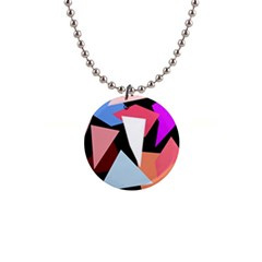 Colorful geometrical design Button Necklaces