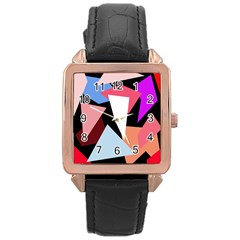 Colorful geometrical design Rose Gold Leather Watch