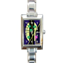 Crazy abstraction by Moma Rectangle Italian Charm Watch