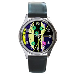 Crazy abstraction by Moma Round Metal Watch