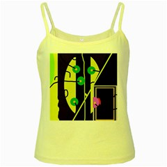 Crazy abstraction by Moma Yellow Spaghetti Tank