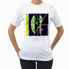 Crazy abstraction by Moma Women s T-Shirt (White) (Two Sided)