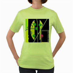 Crazy abstraction by Moma Women s Green T-Shirt