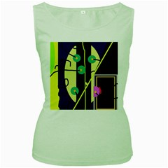Crazy abstraction by Moma Women s Green Tank Top