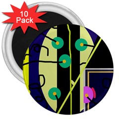 Crazy abstraction by Moma 3  Magnets (10 pack)